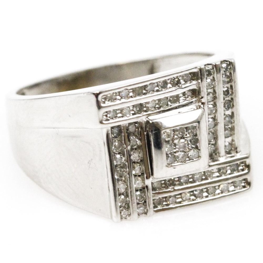 Men's 10K White Gold and Diamond Ring