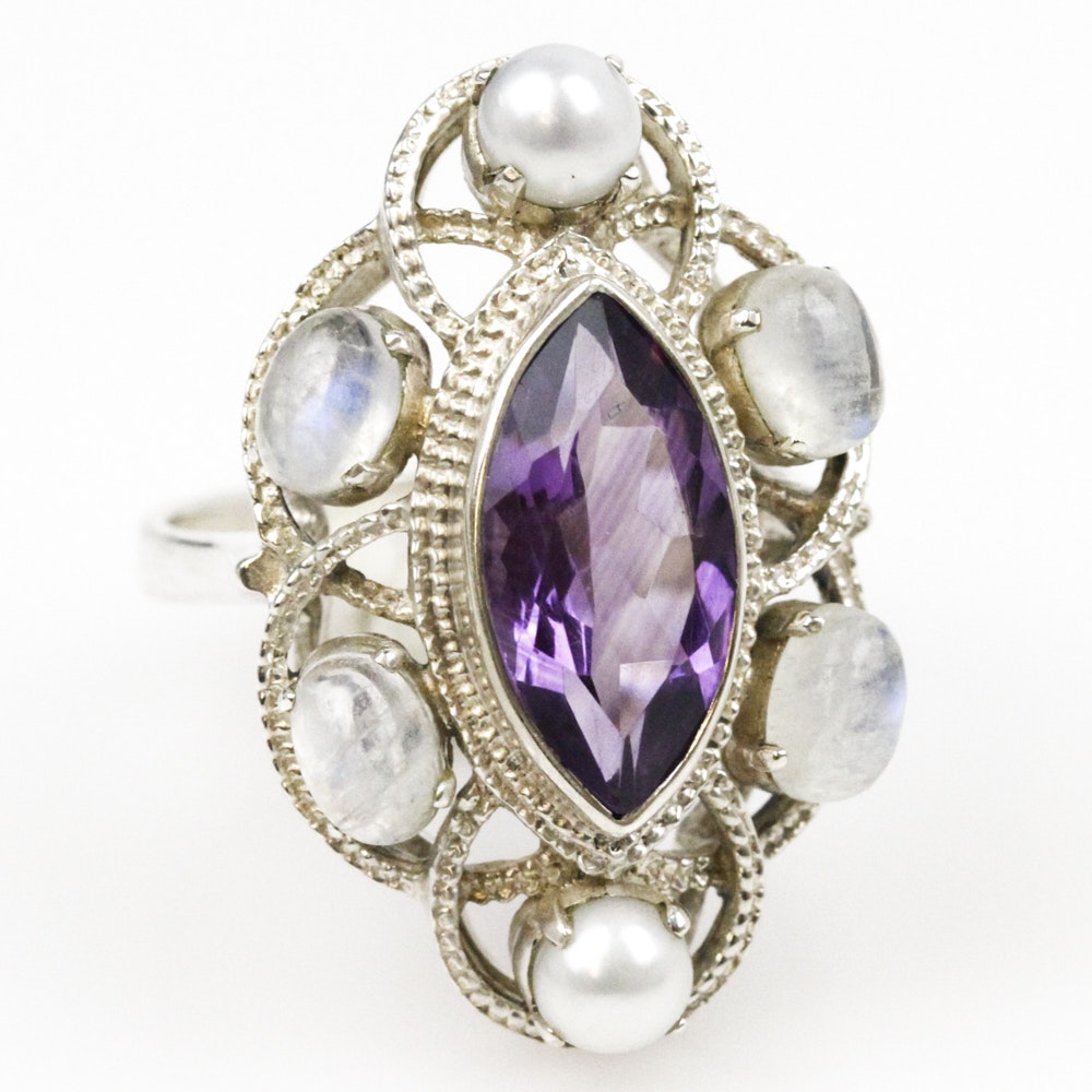 Sterling Silver, Amethyst, Moonstone, and Pearl Navette Ring