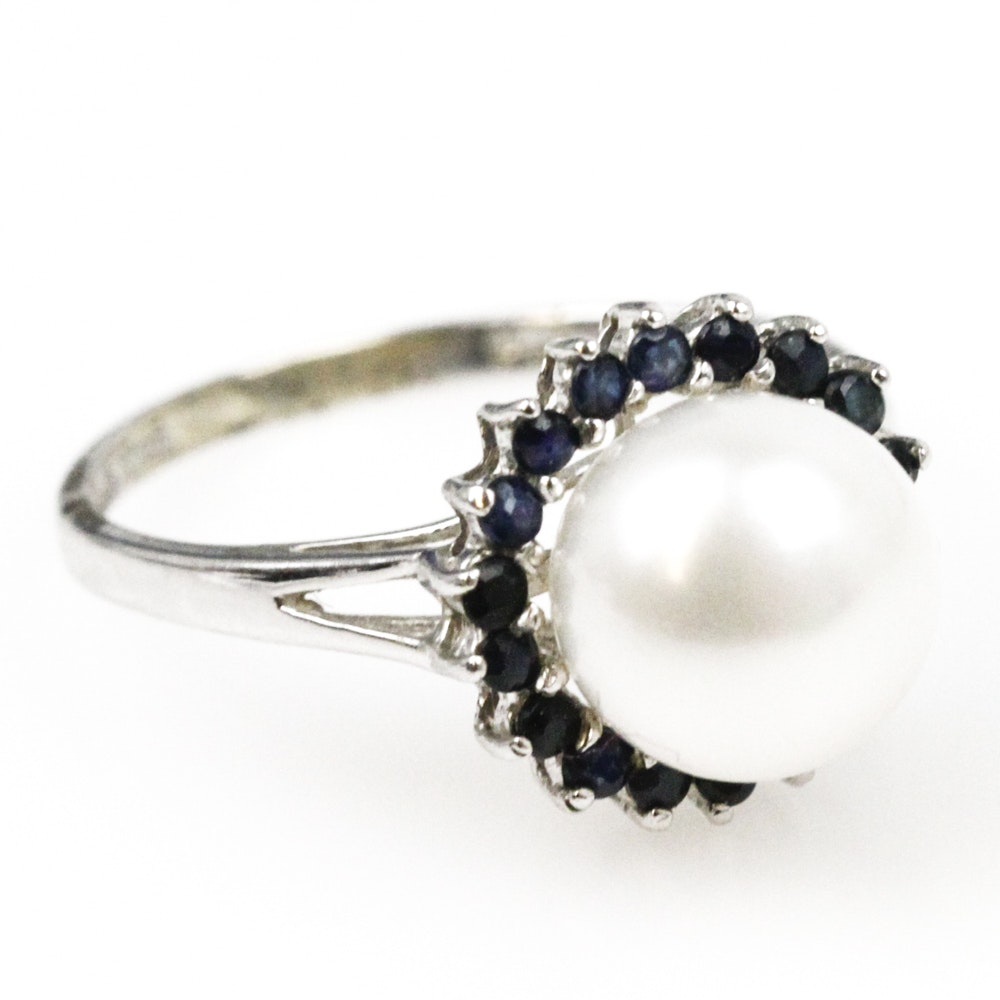 14K White Gold, Cultured Pearl, and Sapphire Cocktail Ring