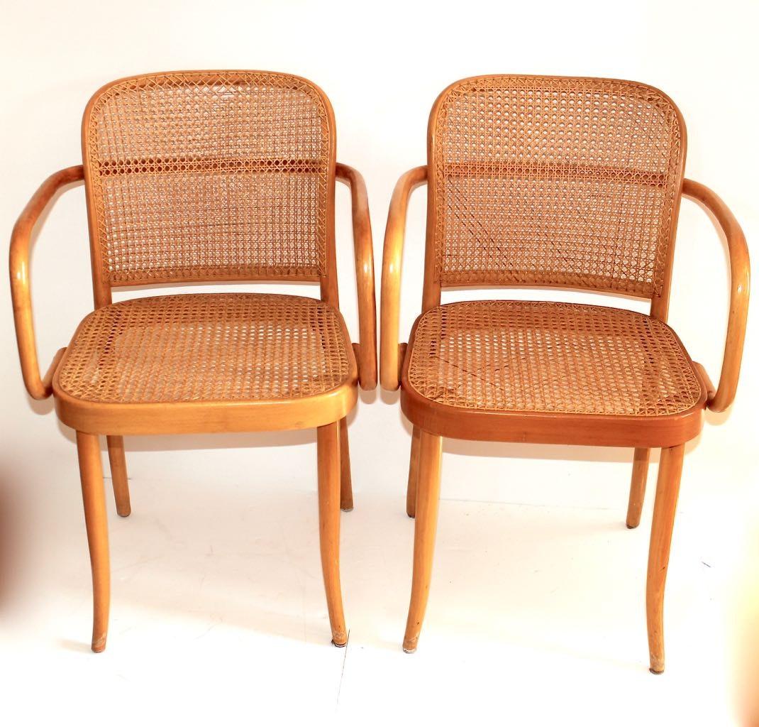 Two Thonet/Stendig Prauge Bentwood U0026 Cane Chairs ...