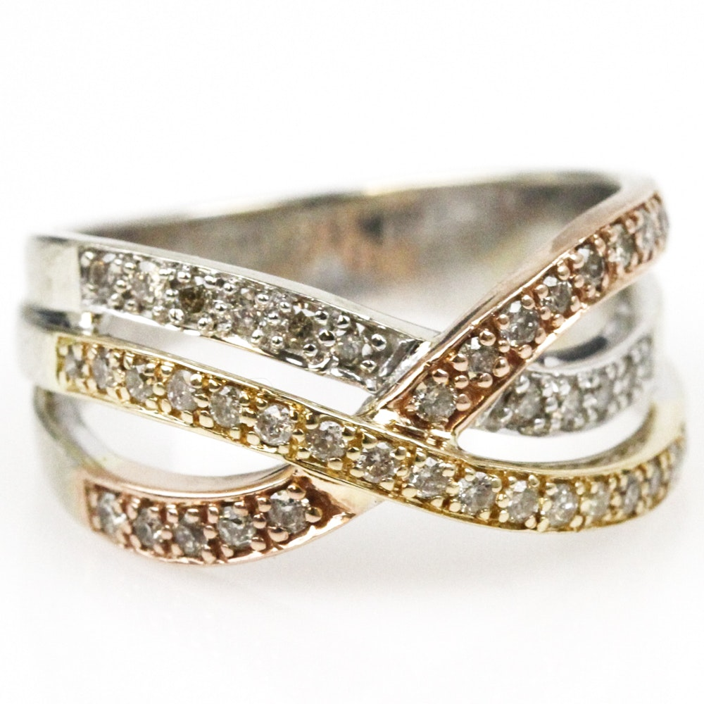 14K Tri-Color Gold and Diamond Crossover Ring