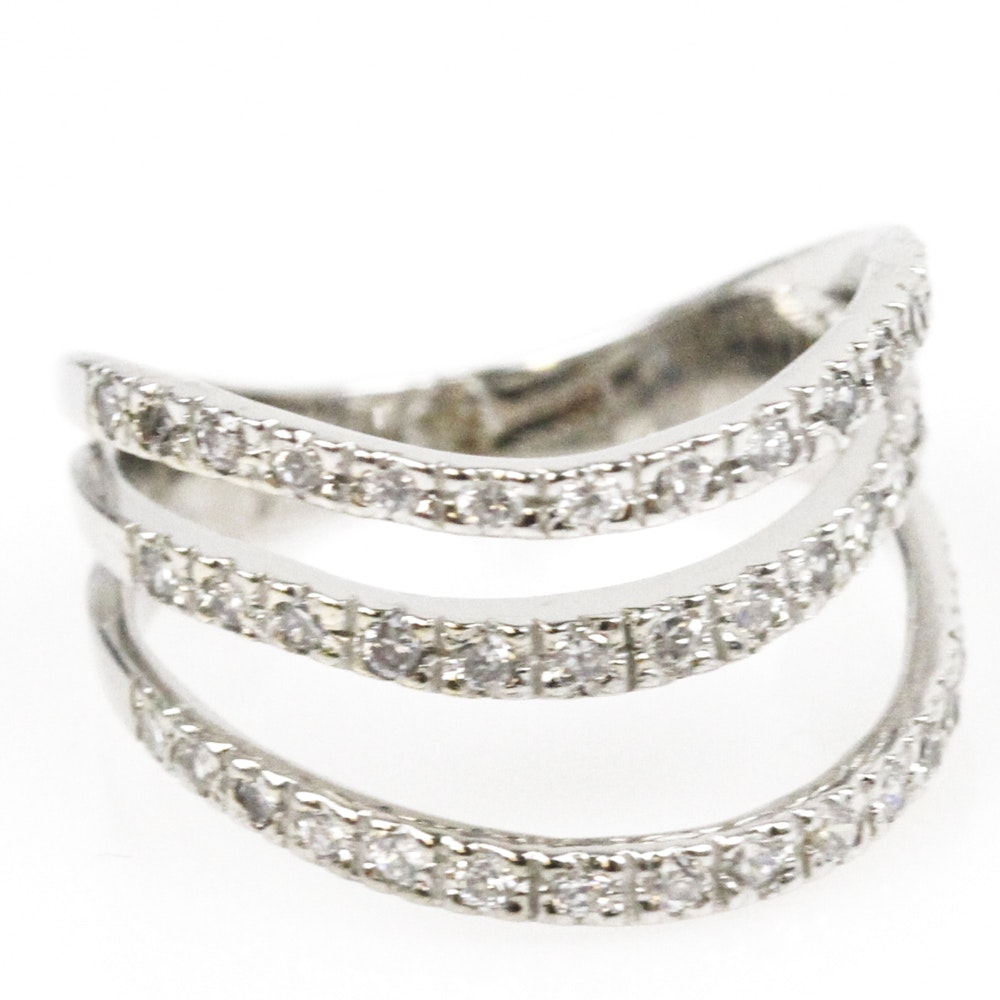 18K White Gold and Cubic Zirconia Multi-Row Ring