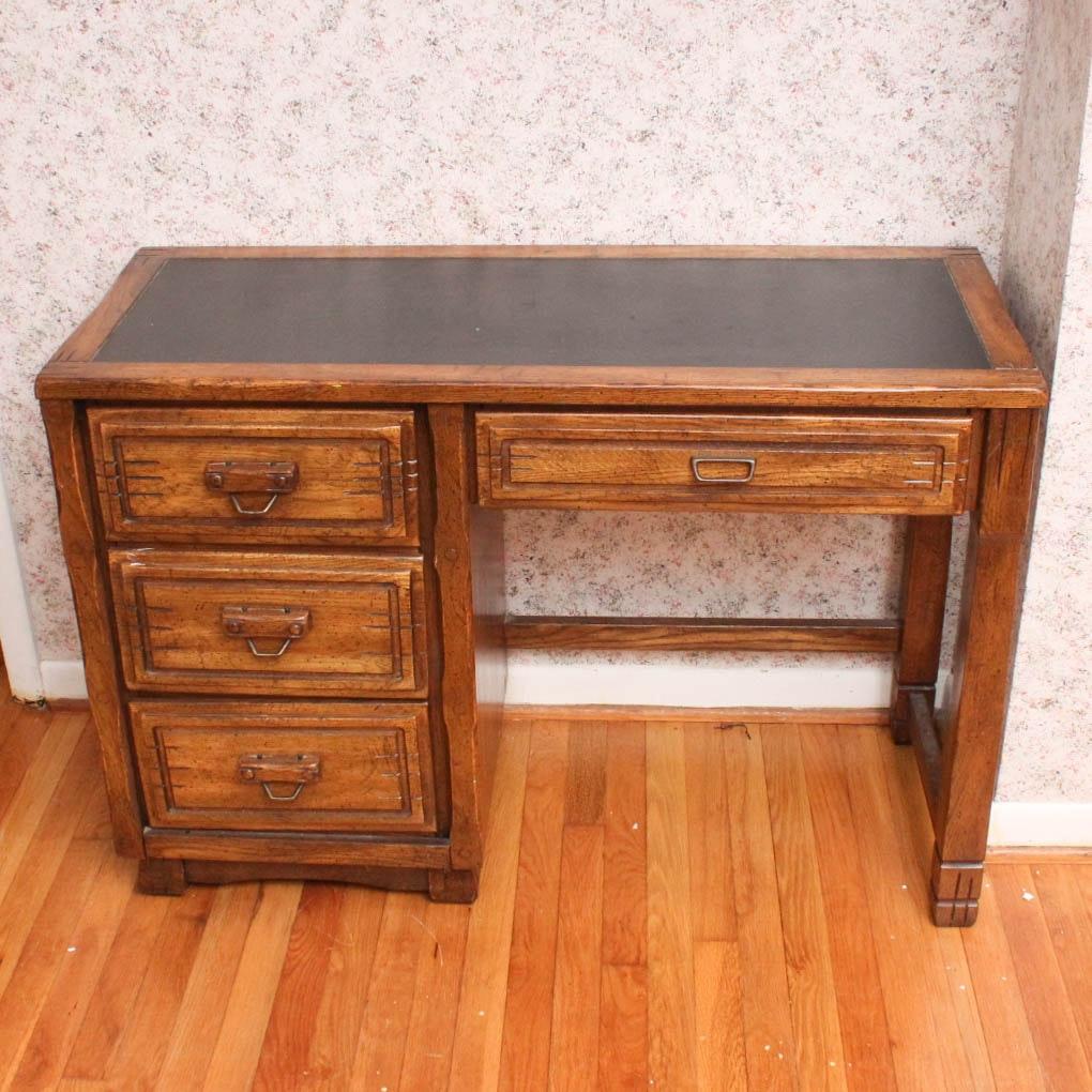 Vintage Oak Desk and Side Table