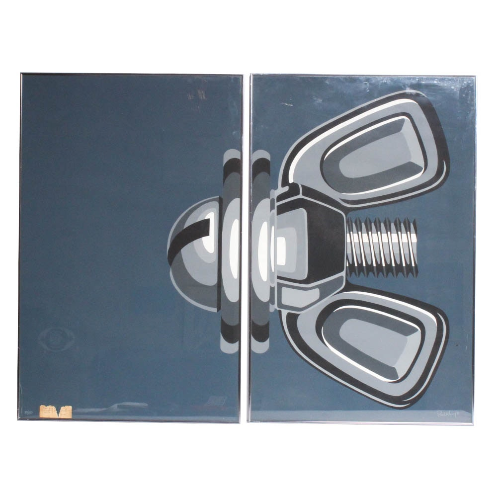 "Paul Levy Limited Edition Diptych Serigraph ""Nut and Bolt"""