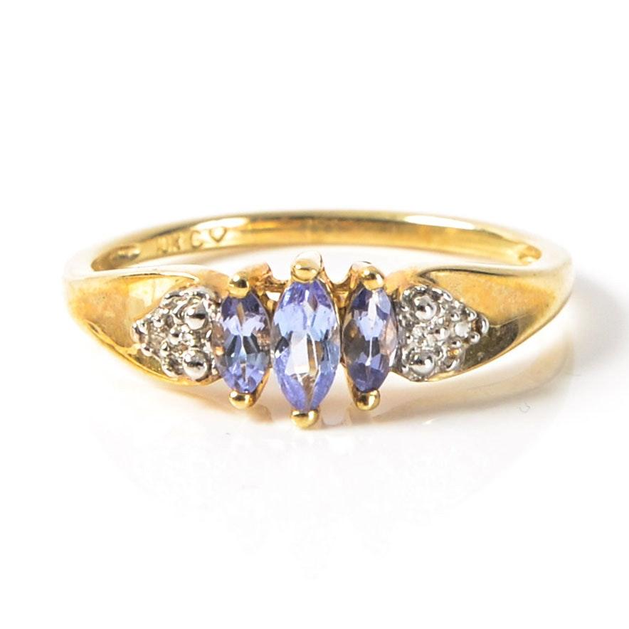 10K Gold, Diamond and Amethyst Ring
