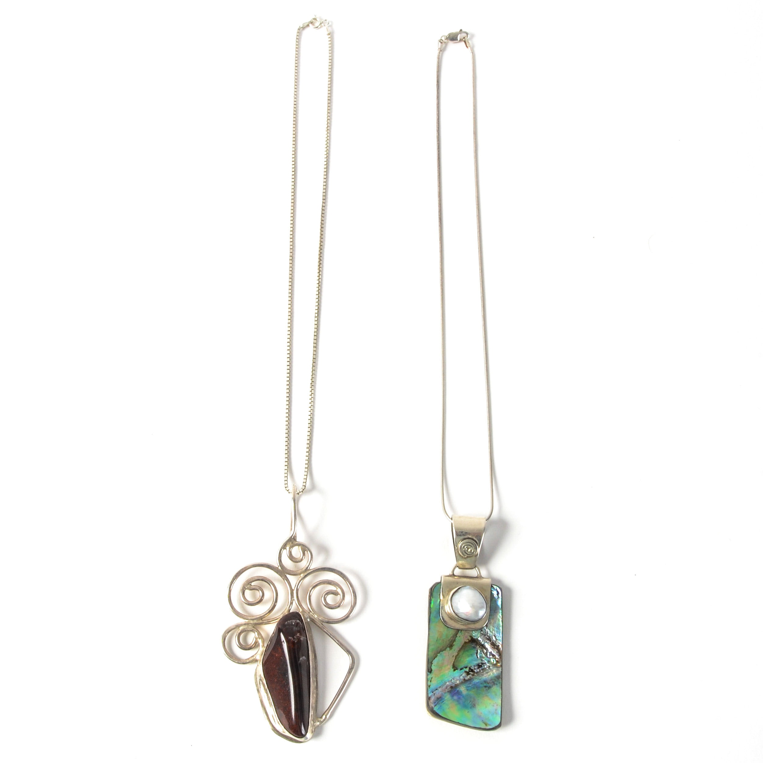 Pair of Sterling and Stone Embellished Necklaces
