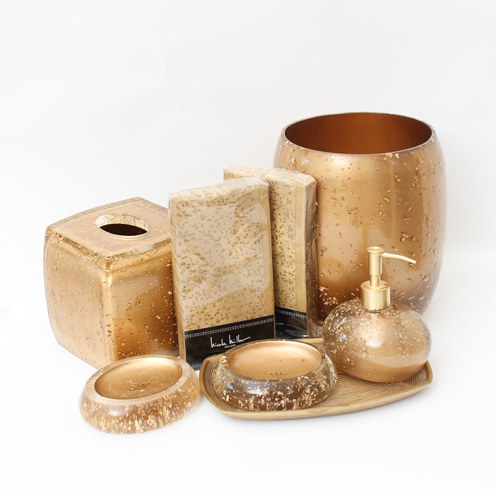 Nicole Miller Gold Rush Bathroom Decor Collection ...