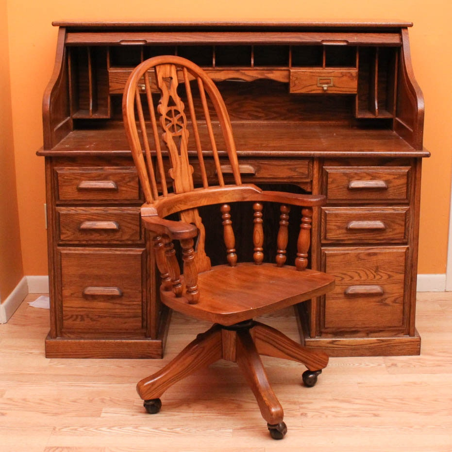Vintage Oak Roll Top Desk and Chair