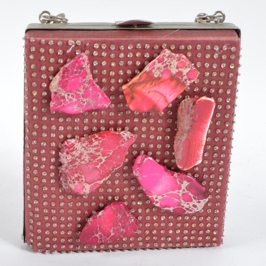 Vintage Megan Park Seed Beaded Evening Bag with Agate Embellishments