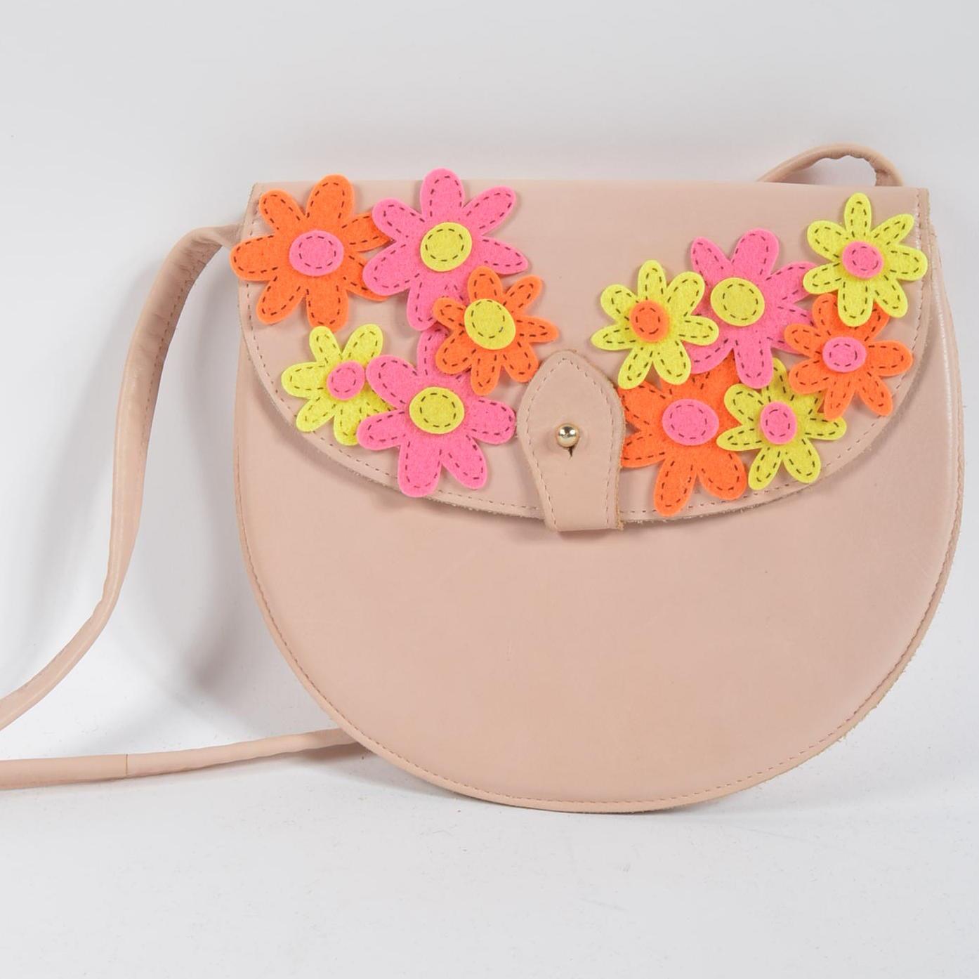 Vintage Charles Jourdan Leather Handbag with Embellishments