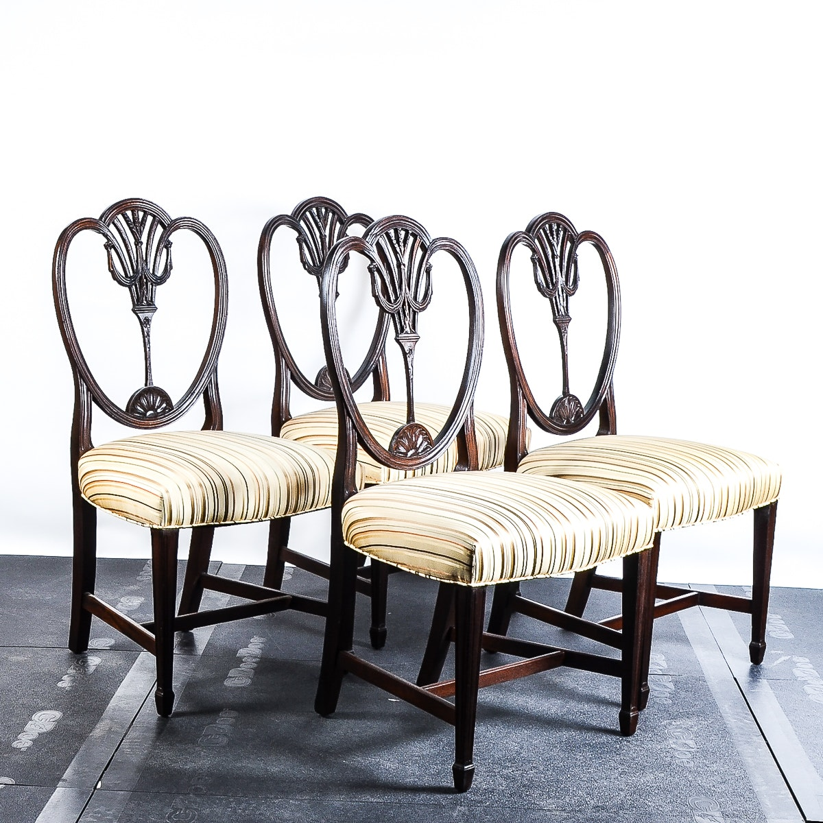Vintage Shield Back Walnut Upholstered Dining Chairs