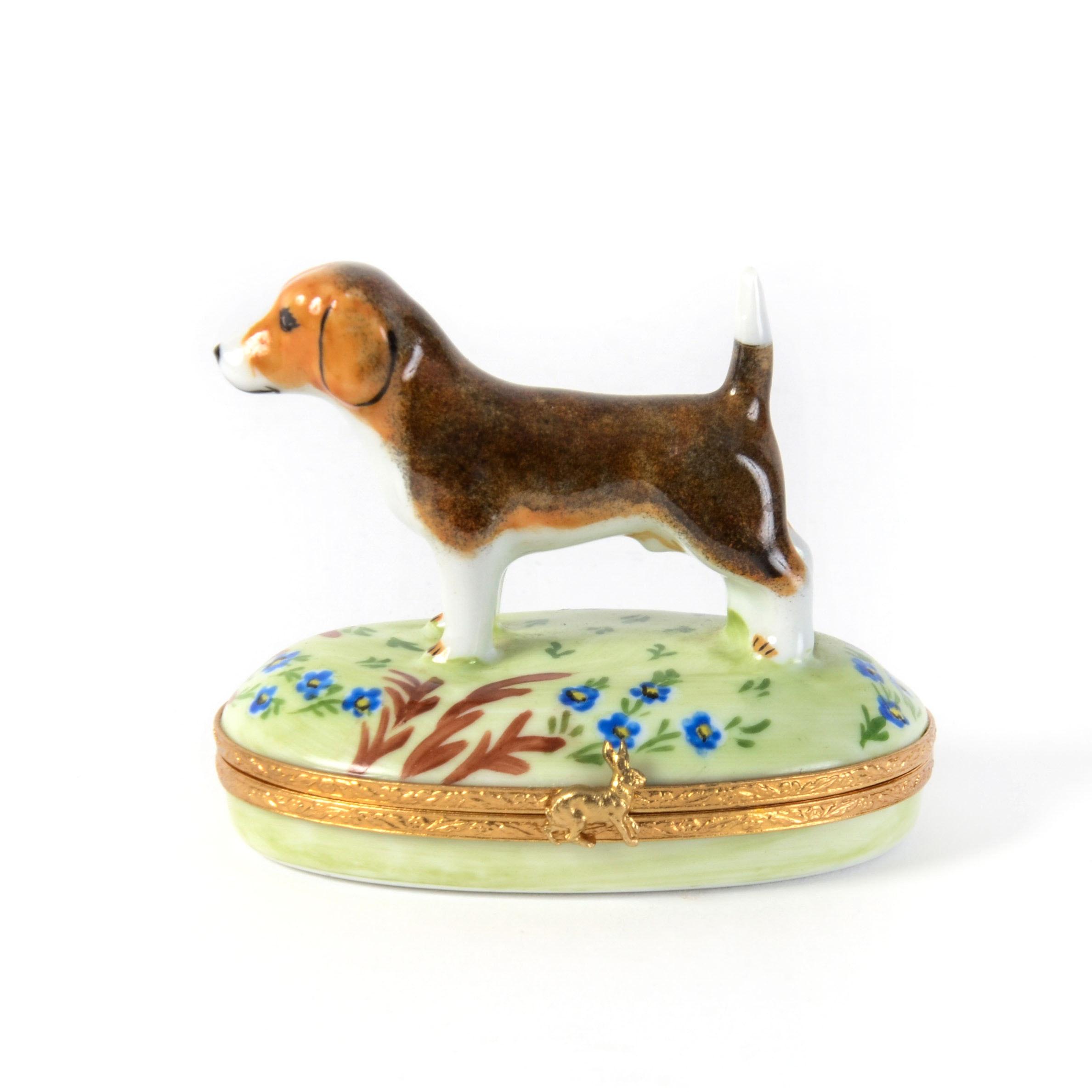 Limoges Hand Painted Porcelain Dog Trinket Box
