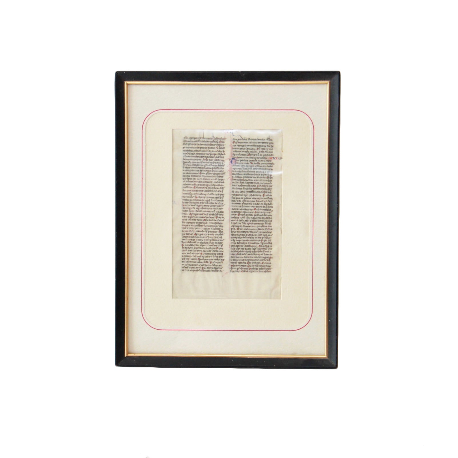 """Framed Medieval Manuscript Leaf and 16th Century Hand-Illuminated Printed Pages From Gerard Jansen's """"Ten Treaties Concerning the [Catholic] Church"""""""