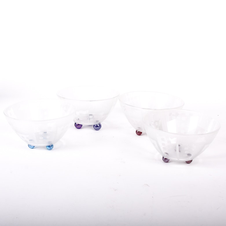 Set of Signed Etched  Art Glass Bowls