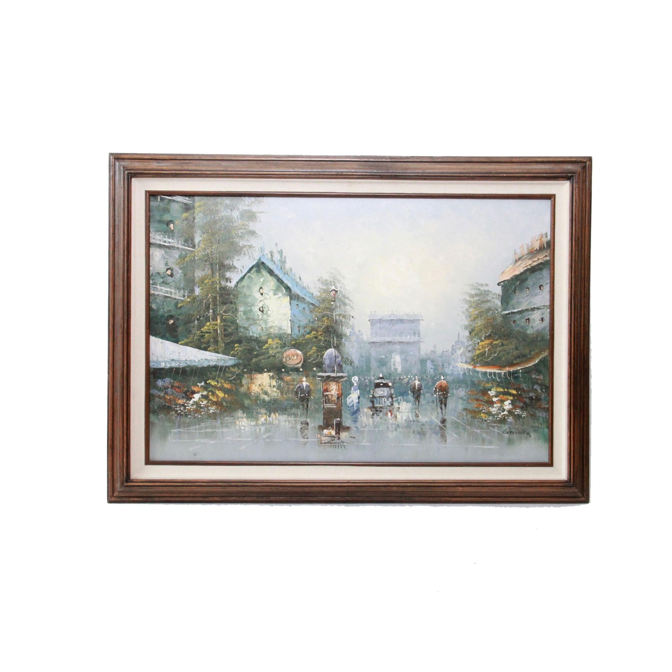 Oil Painting on Canvas of Parisian Street Scene