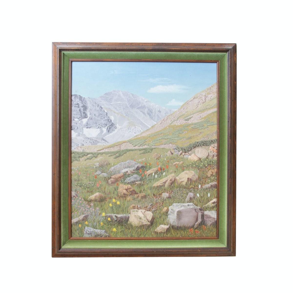 Bess Harris Original Oil Painting of a Mountain Scene