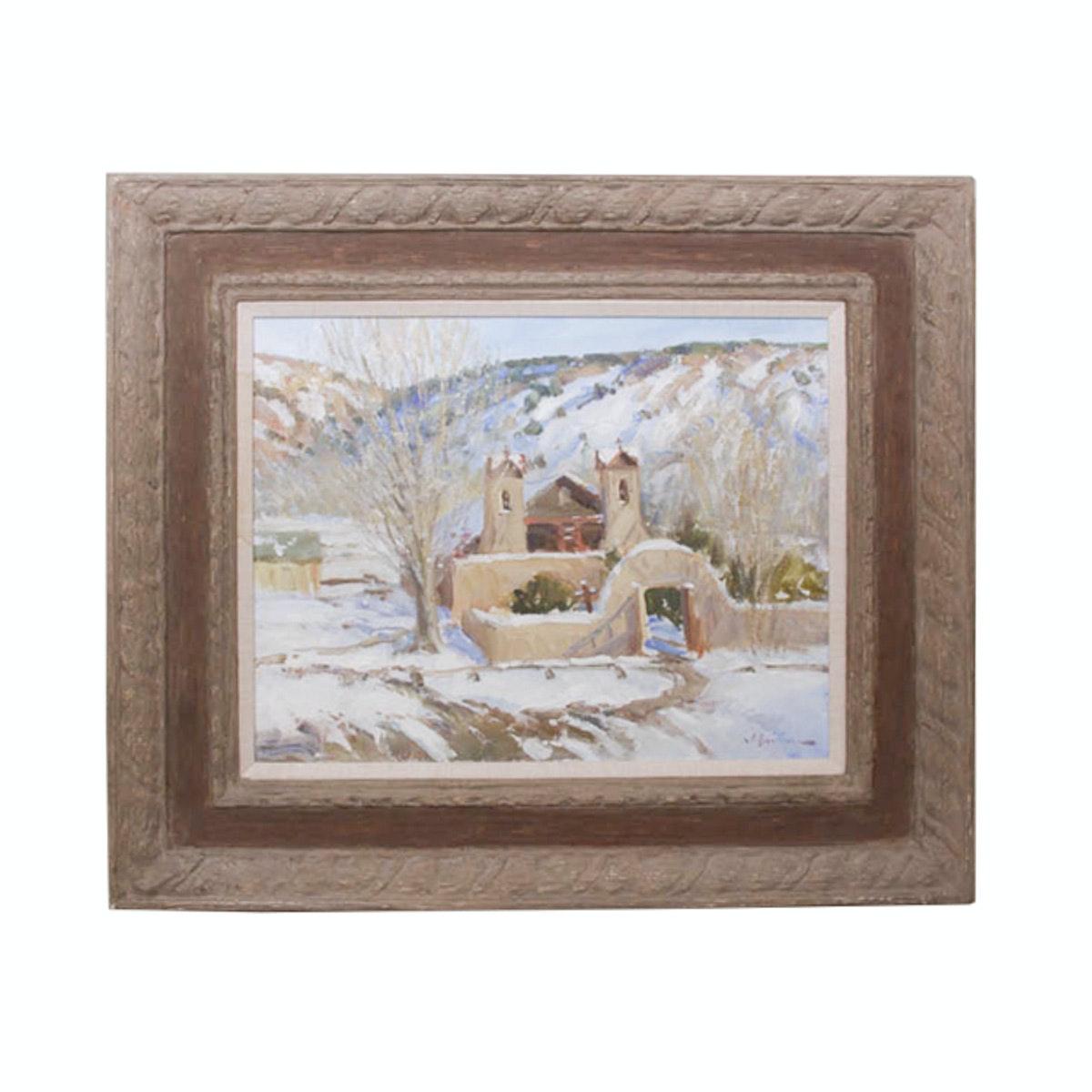 """John O. Encinias Original Oil Painting """"Santurio de Chimayo"""""""