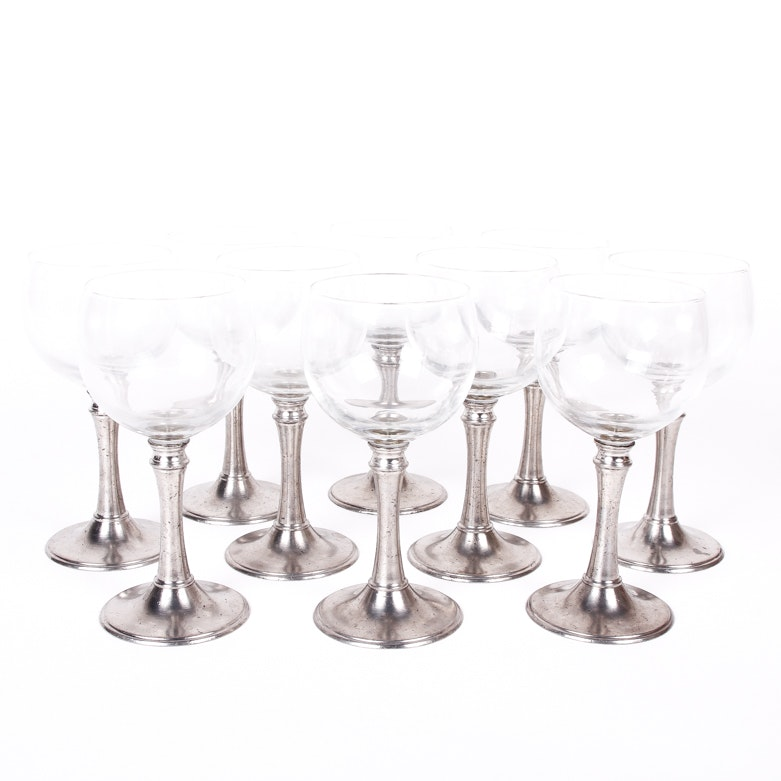 Set of Wine Glasses with Pewter Stems