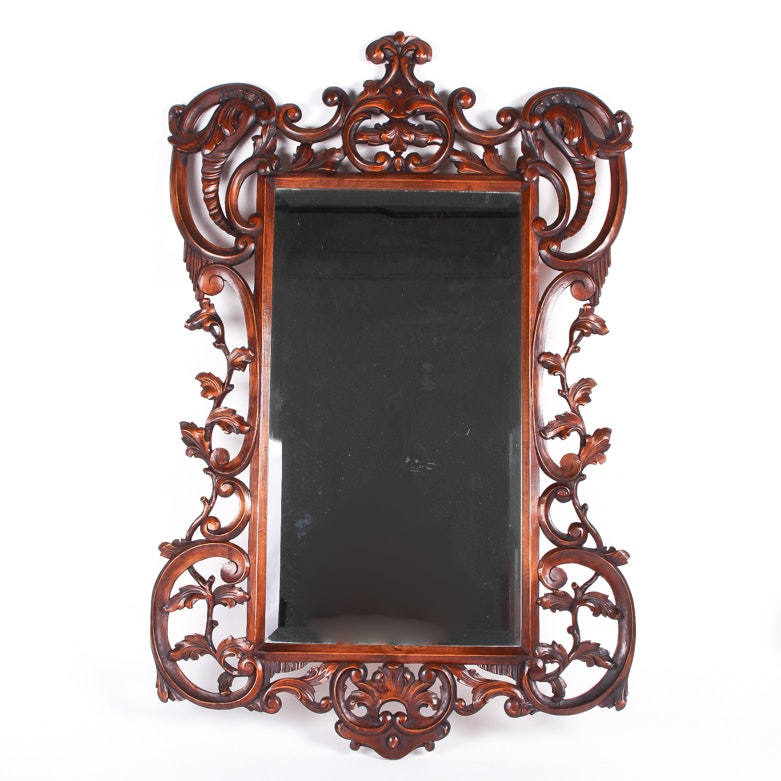 Large Ornately Scrolled Cherry Wall Mirror