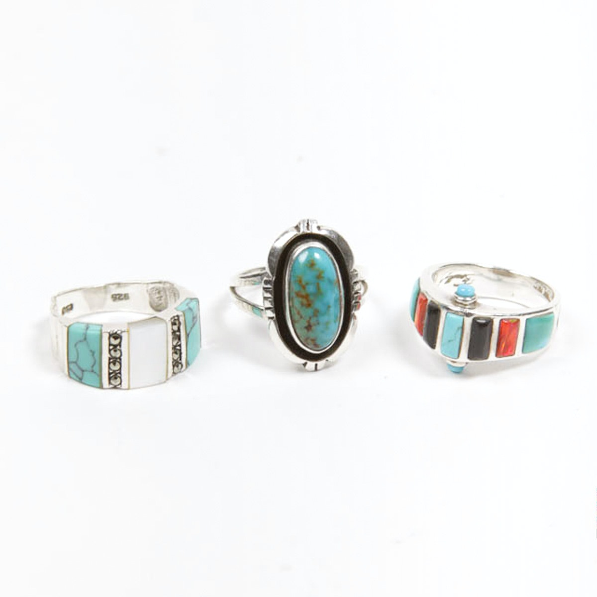 Three Sterling Silver Rings with Stones Including LM Nez Navajo
