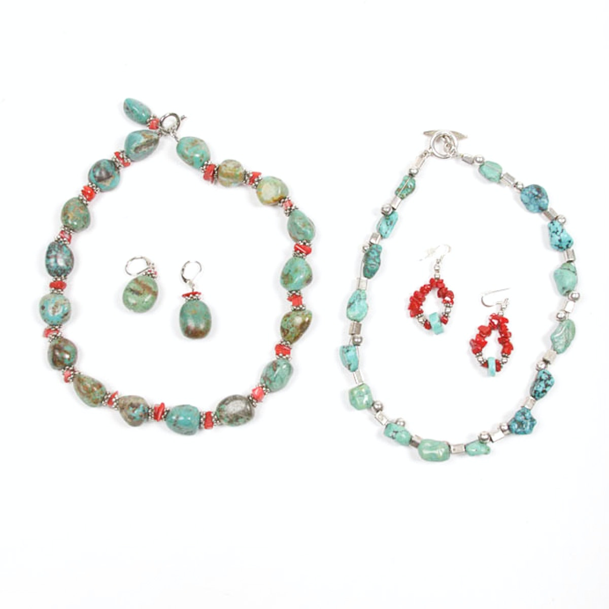 Collection of Sterling, Turquoise and Coral Necklaces and Earrings