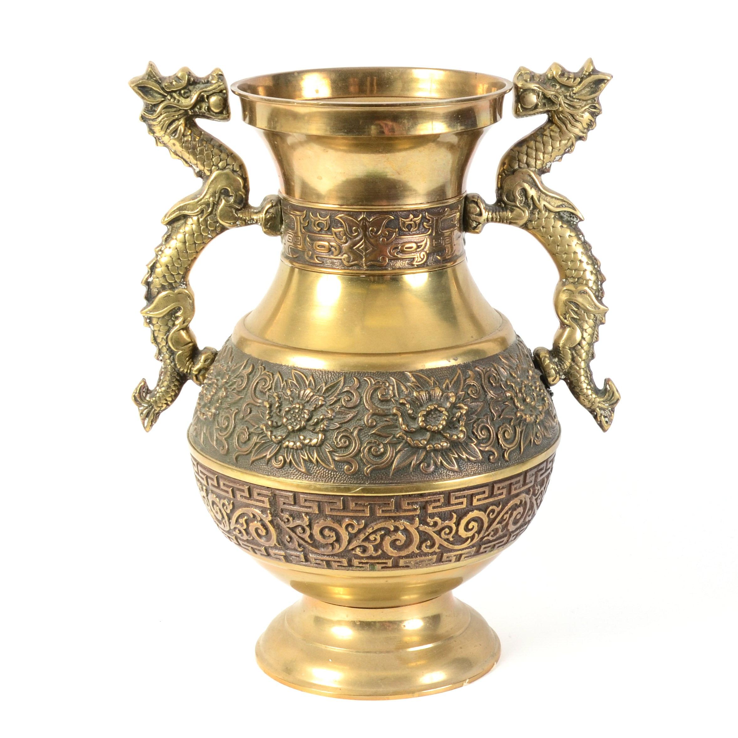 Asian-Inspired Hollywood Regency Style Brass Urn