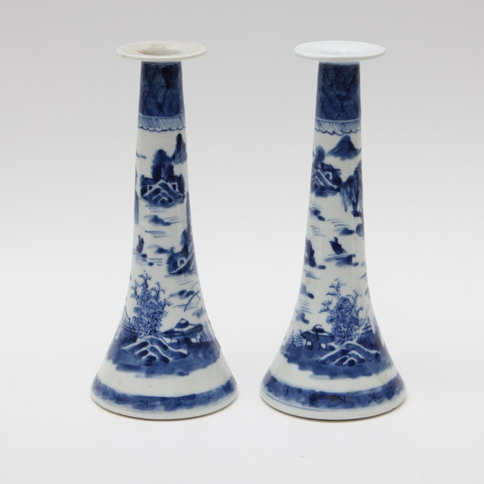 Antique Chinese Porcelain Candlestick Holders