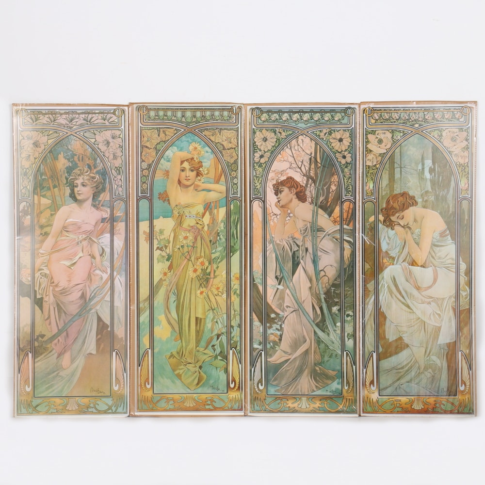 """After Alphonse Mucha """"The Times of the Day"""" Offset Lithographs"""