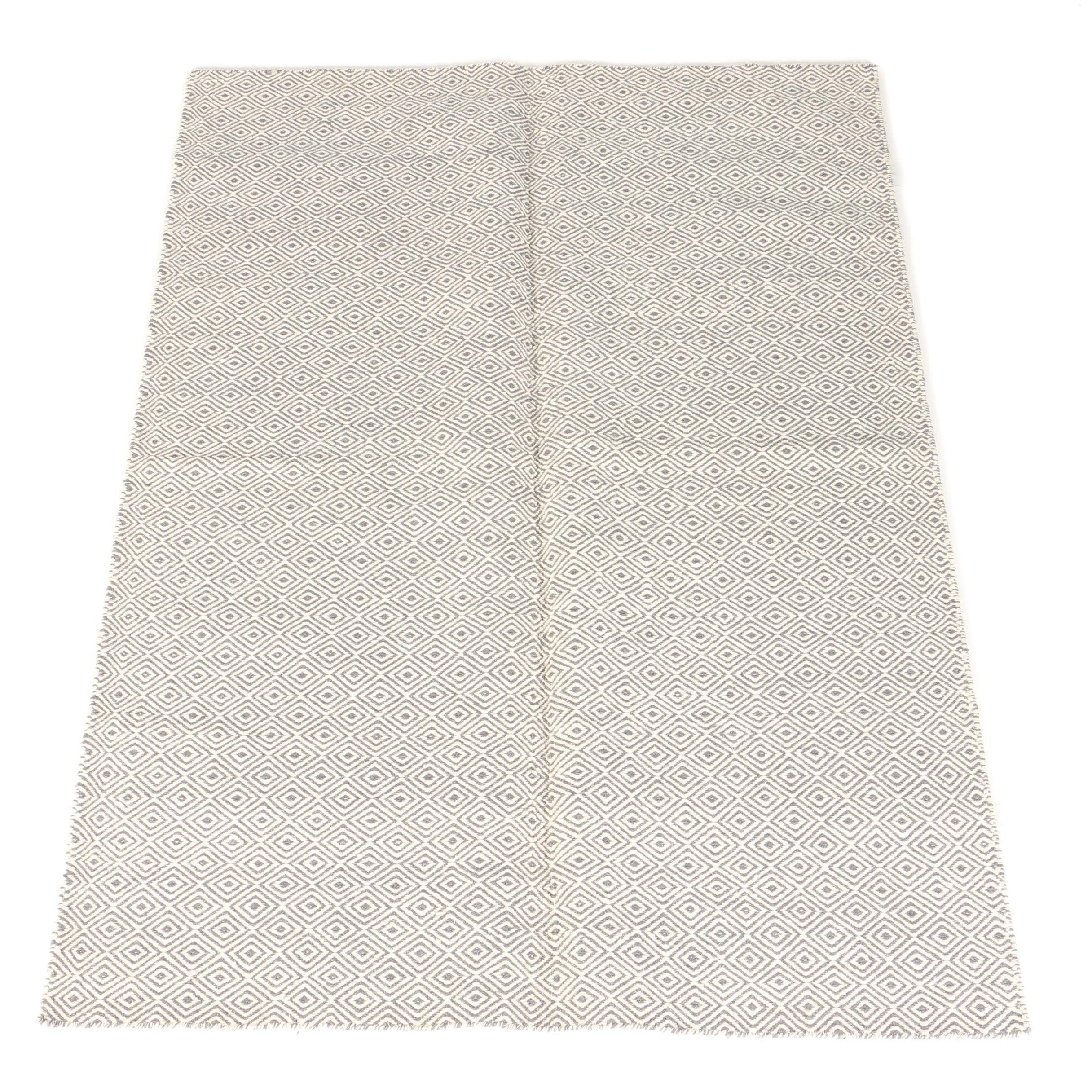 Handwoven Indian Wool Geometric Paddle Area Rug