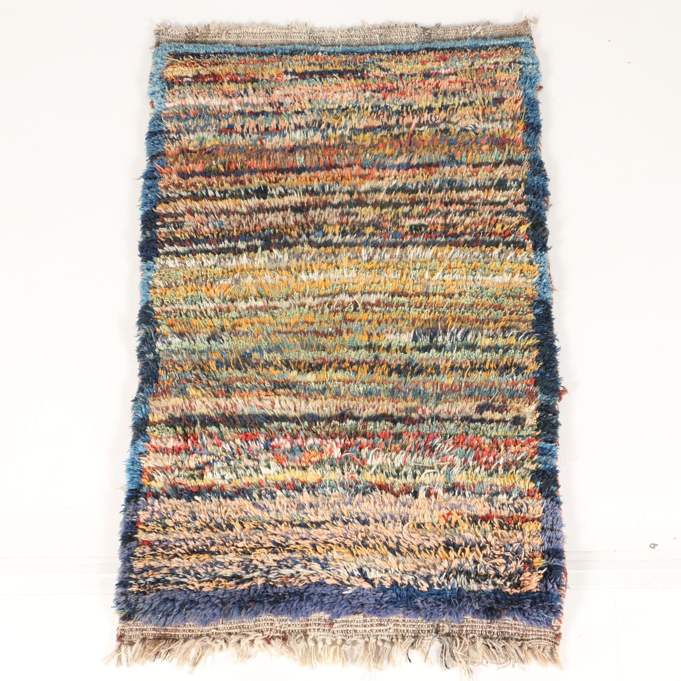 Hand-Knotted Shaggy Wool Accent Rug