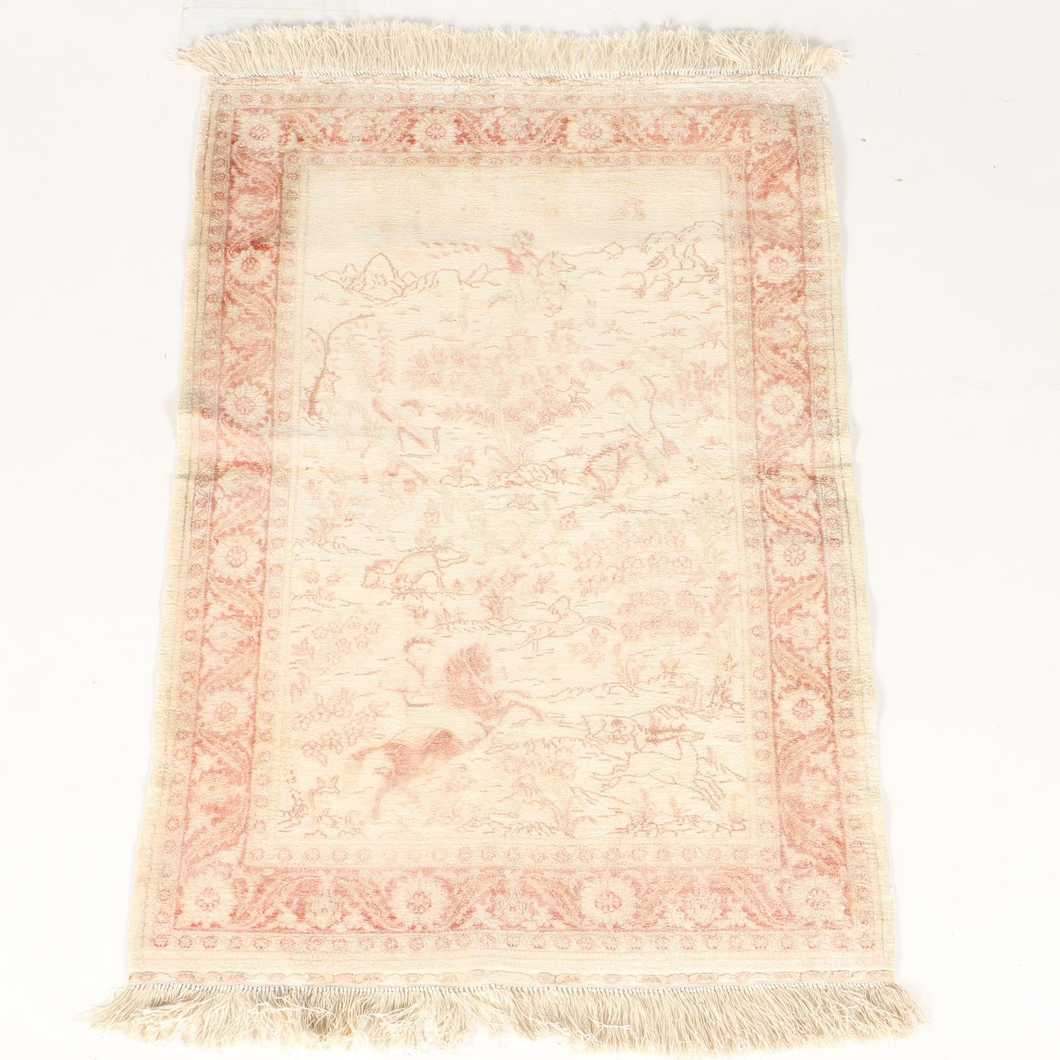 Hand-Knotted Turkish Silk Pictorial Accent Rug