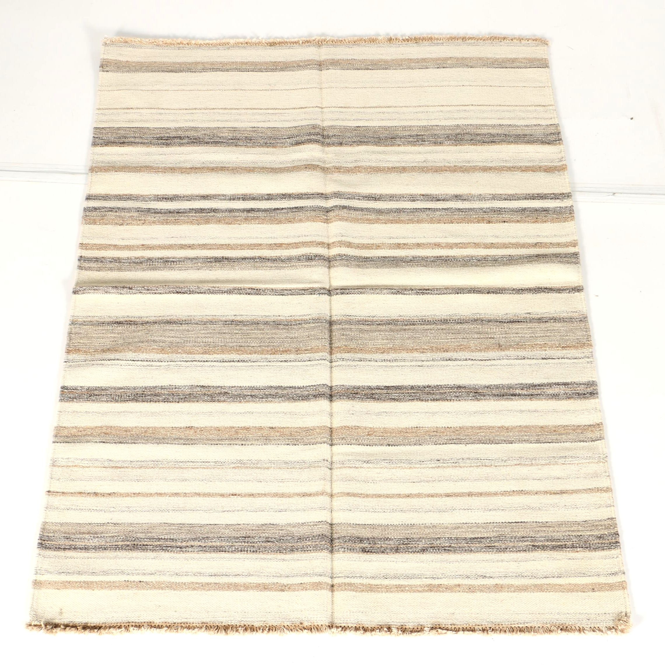 Handwoven Flat Weave Striped Area Rug