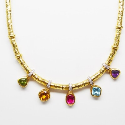 18K Yellow Gold Hammered Bead, Diamond and Gemstone Necklace