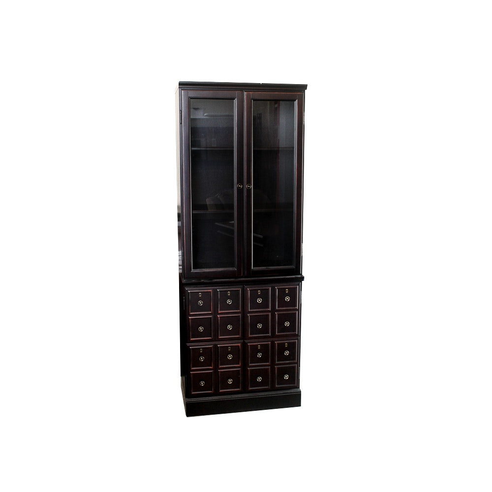 Curio Cabinet With Faux Multi-Drawer Front Doors