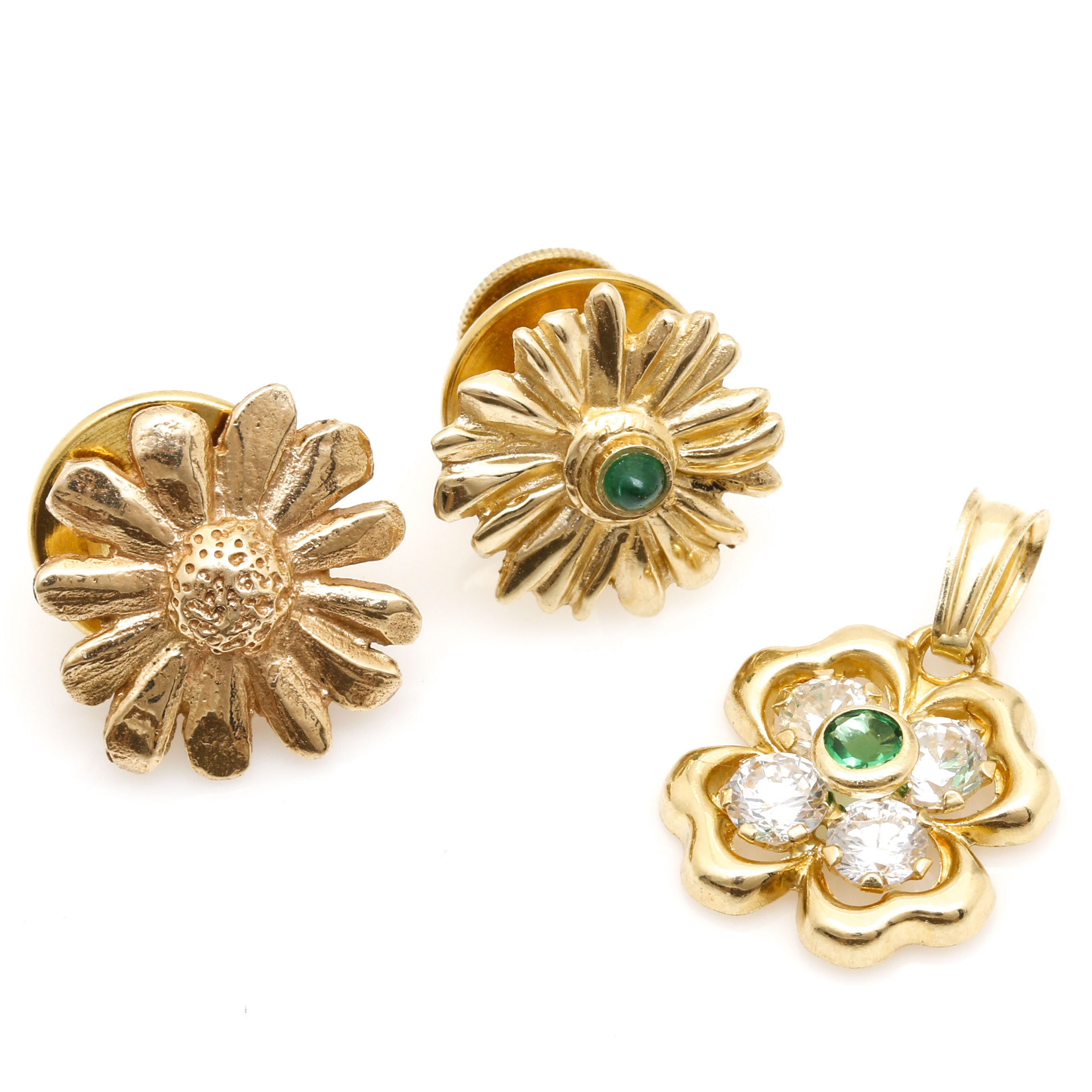 14K Yellow Gold Floral Lapel Pins With 18K Floral Pendant