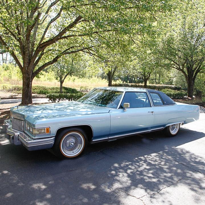 Blue 1975 Cadillac Coupe DeVille