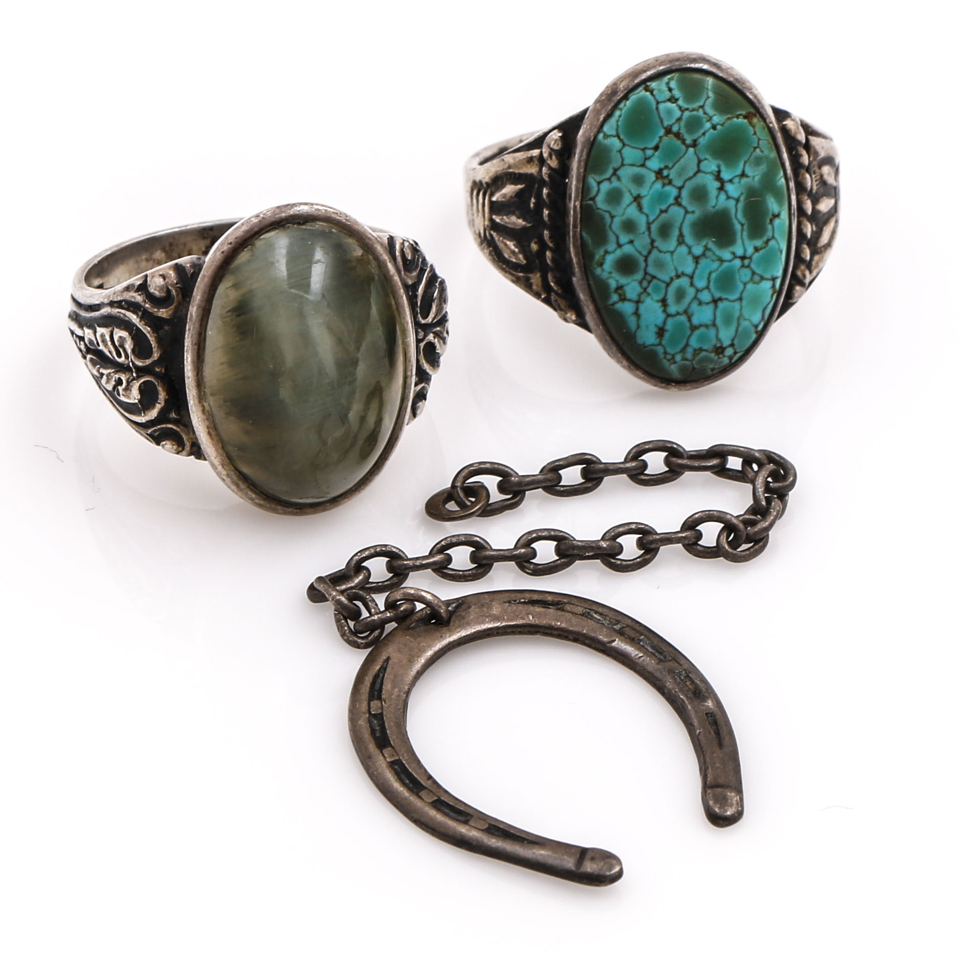 800 and Sterling Silver Turquoise and Cat's Eye Orthoclase Rings and Horseshoe Charm
