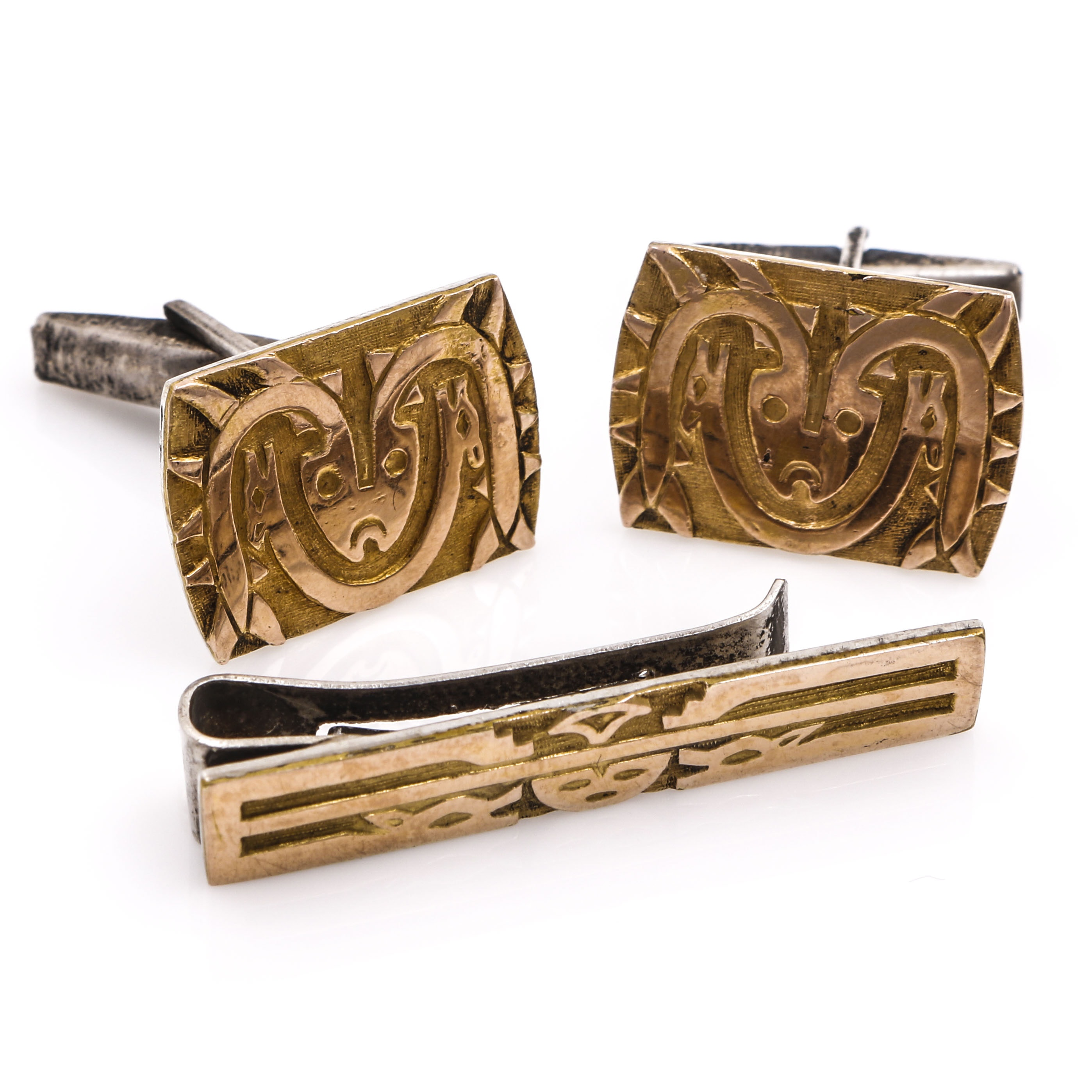 Sterling Silver and 18K Yellow Gold Pueblo Spirit Being Motif Cufflinks and Tie Clip