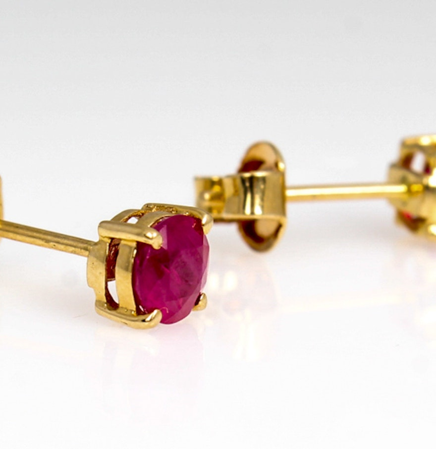 14k Yellow Gold Natural Ruby Earrings