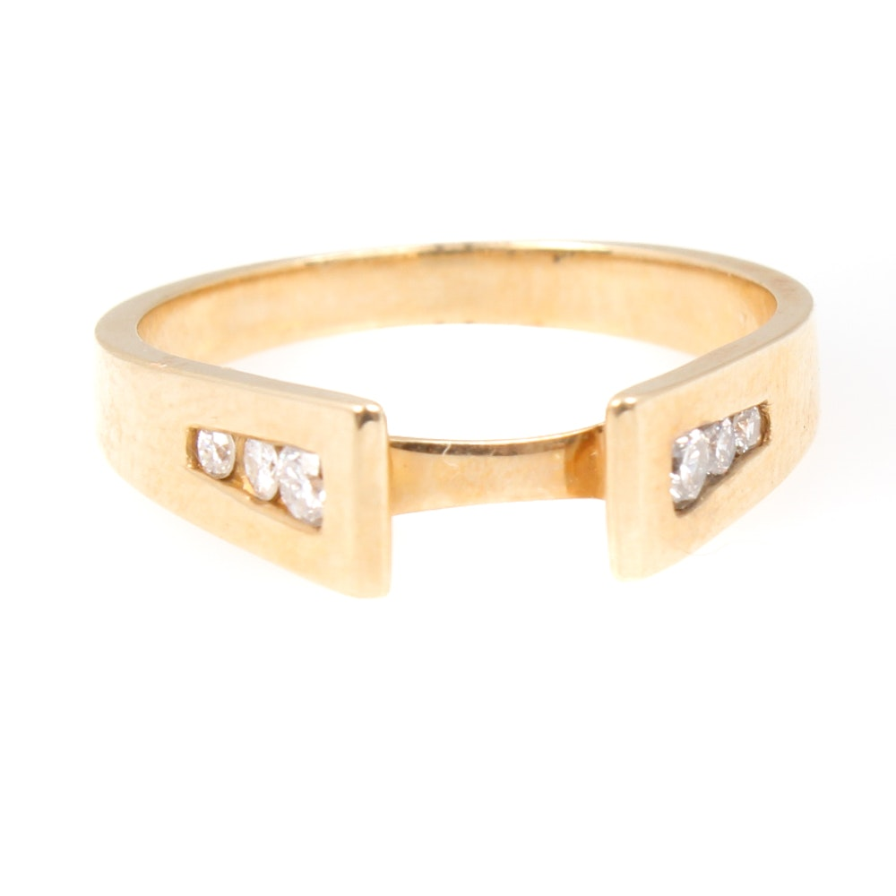 14K Yellow Gold Ring Semi Mount with Side Diamonds
