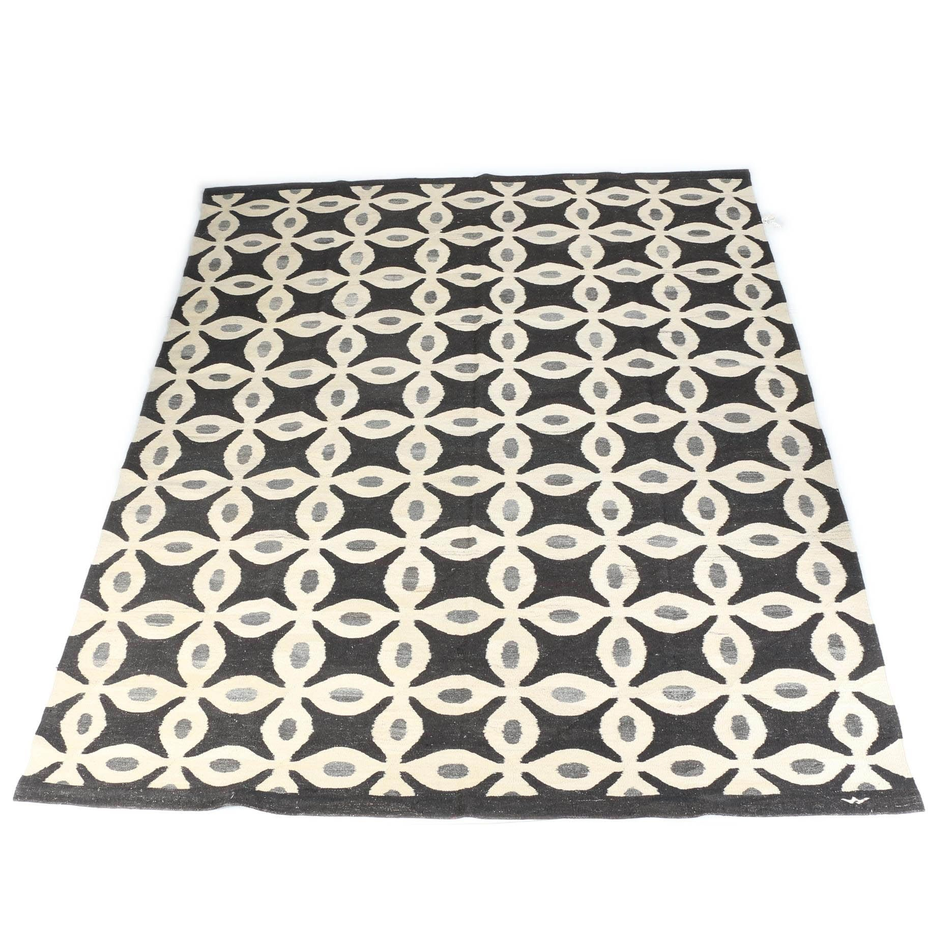 Handwoven Abstract Floral Soumak Style Area Rug