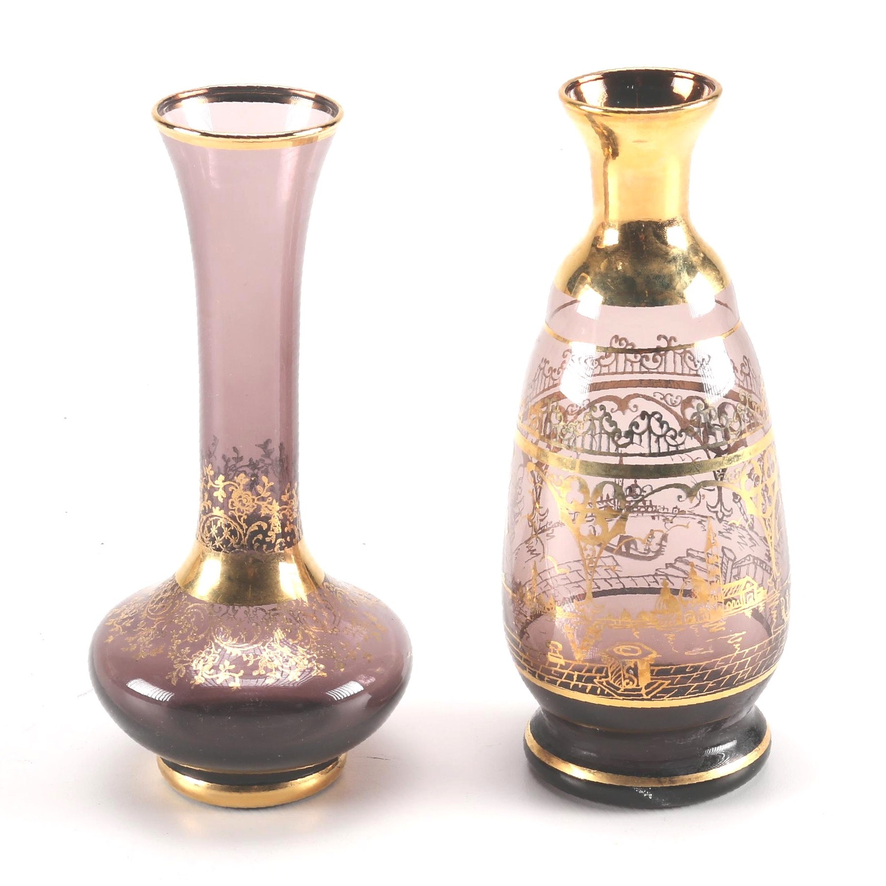 Venetian Art Glass Vases with Gold Painted Accents
