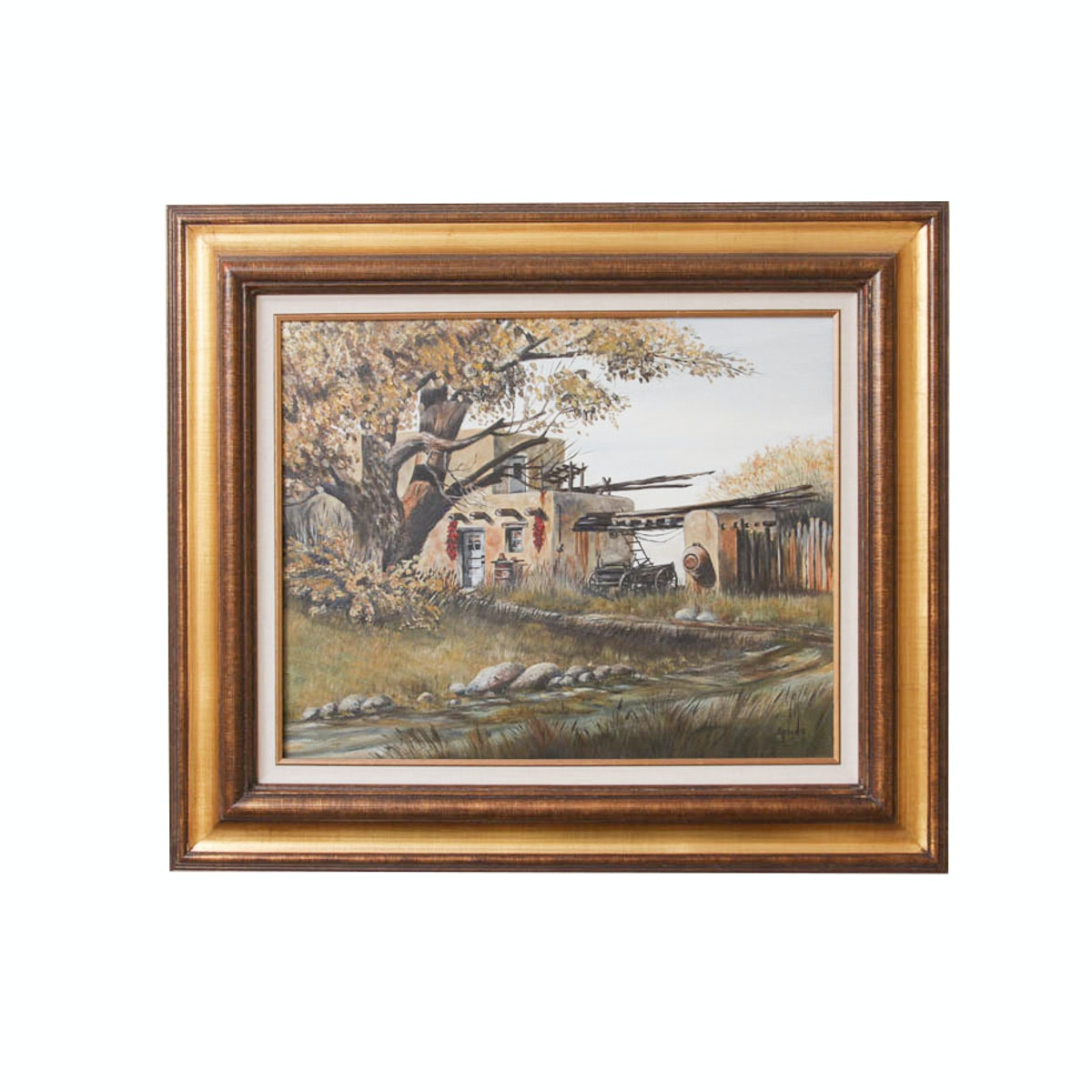 """E. Gene """"Spuds"""" Reamus Oil Painting of a New Mexico Scene"""