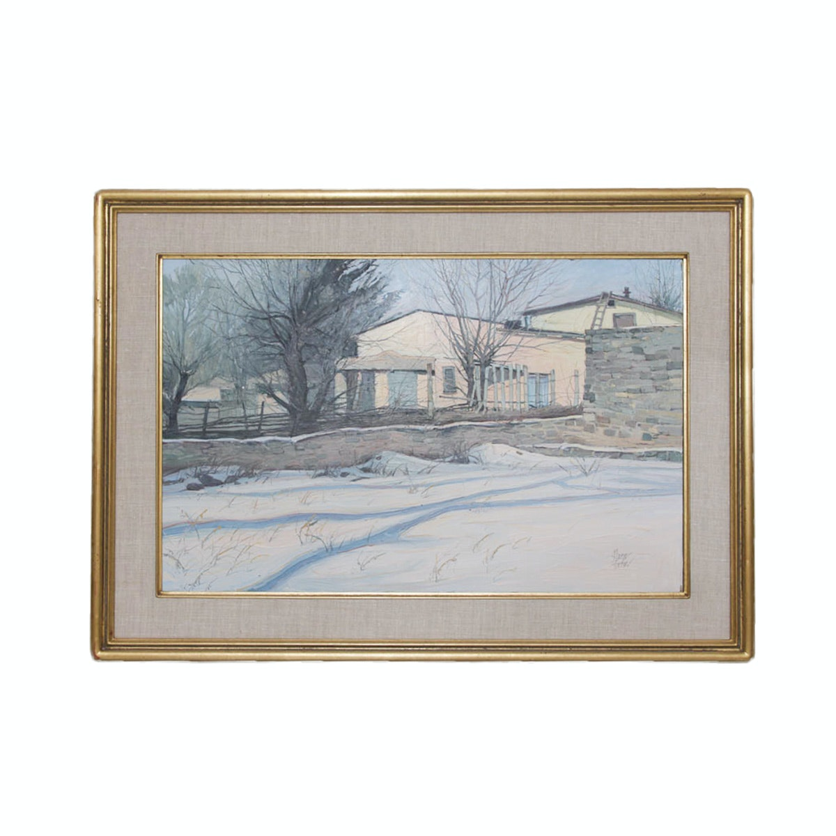 George Fischer Original Oil Painting of a New Mexico Adobe Home