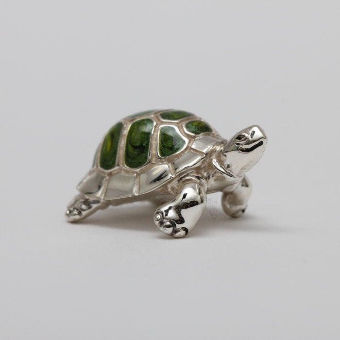 Sterling Silver Tortoise Figurine With Enamel Inlay
