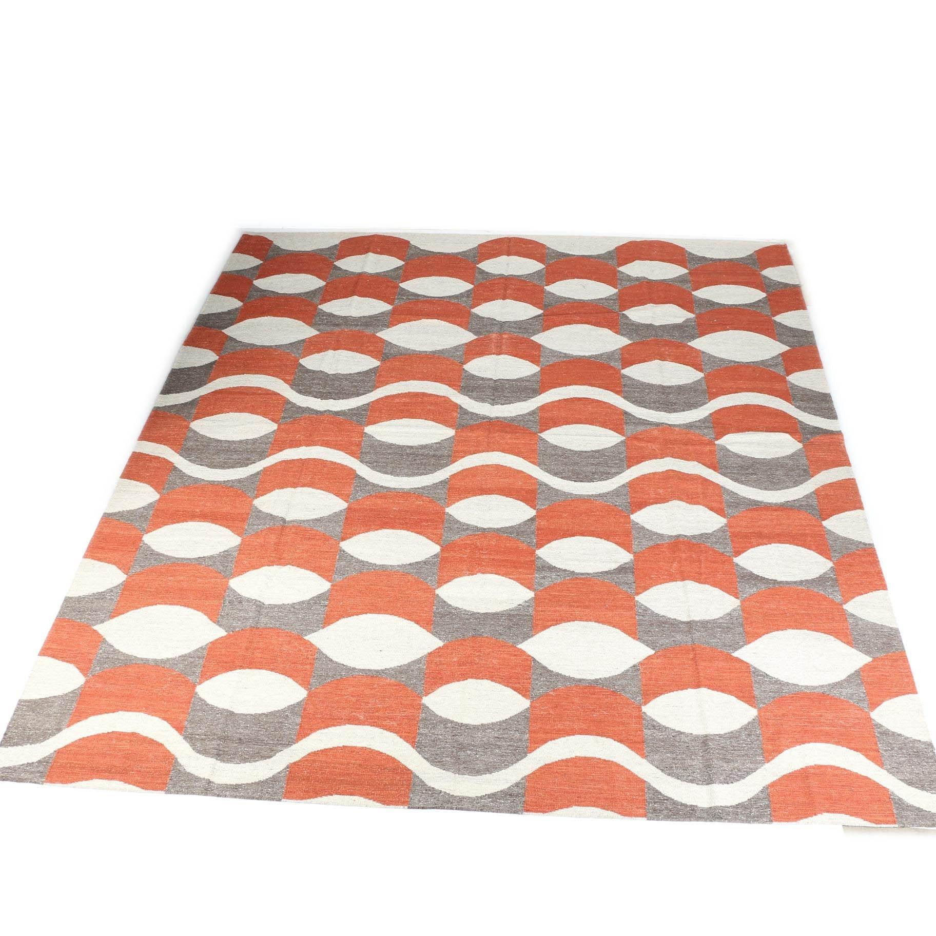 Handwoven Geometric Pattern Kilim Area Rug