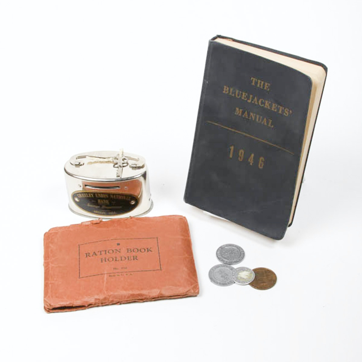 World War II Ration Book and Coin Bank with Tokens