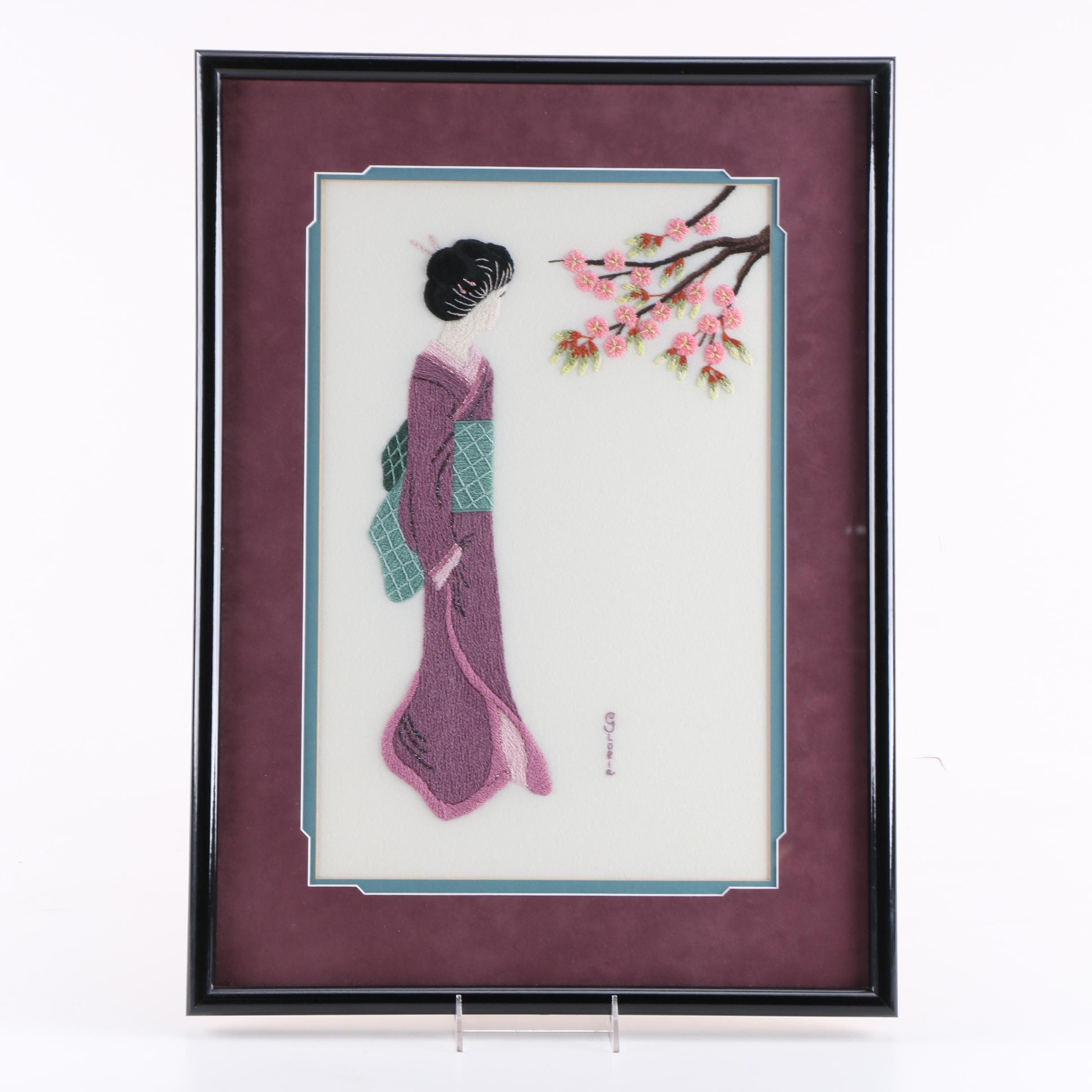 Japanese-Style Bunka Shishu Figural Embroidery Piece