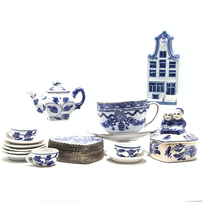 Blue and White Ceramic Items Including Miniature Tea Set