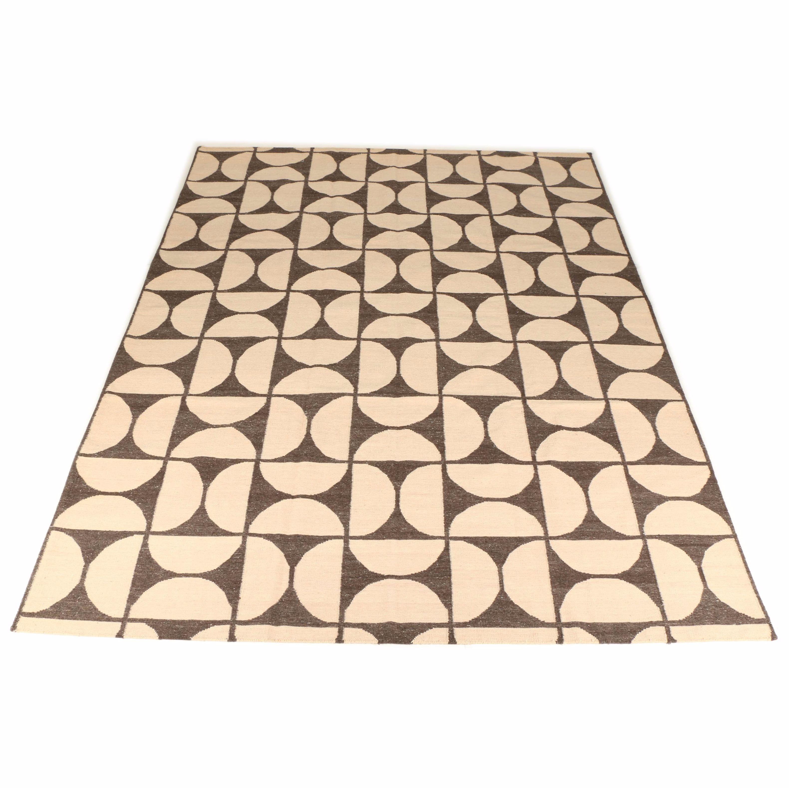 Handwoven Geometric Shaped Wool Indian Kilim Area Rug